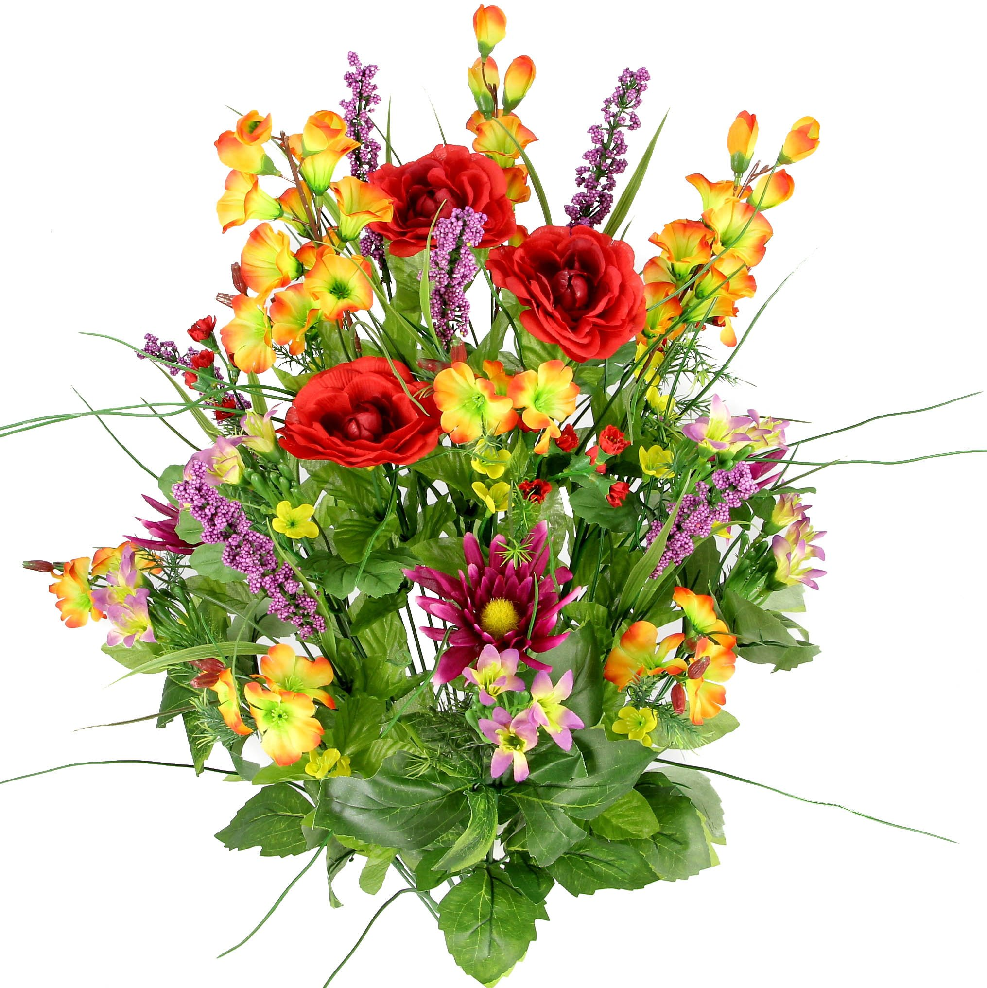 Artificial-Dahlia-Morning-Glory-and-Ranunculus-and-Blossom-Fillers-Mixed-Bush-30-Stems-for-Home-Wedding-Restaurant-and-Office-Decoration-Arrangement-RedOrangeYellowLilac