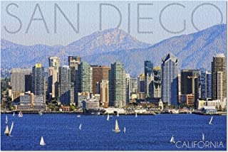 product image for San Diego, California - Mountains and Sailboats 56011 (19x27 Premium 1000 Piece Jigsaw Puzzle for Adults, Made in USA!)