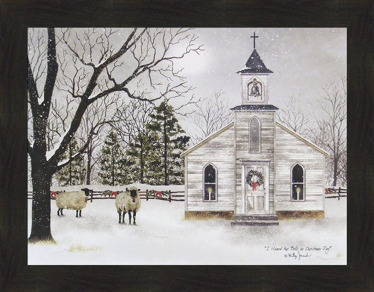 Home Cabin Décor I Heard The Bells On Christmas Day by Billy Jacobs 22x28 Country Church Sheep Lambs Wool Snow Snowing Framed Art Print Picture