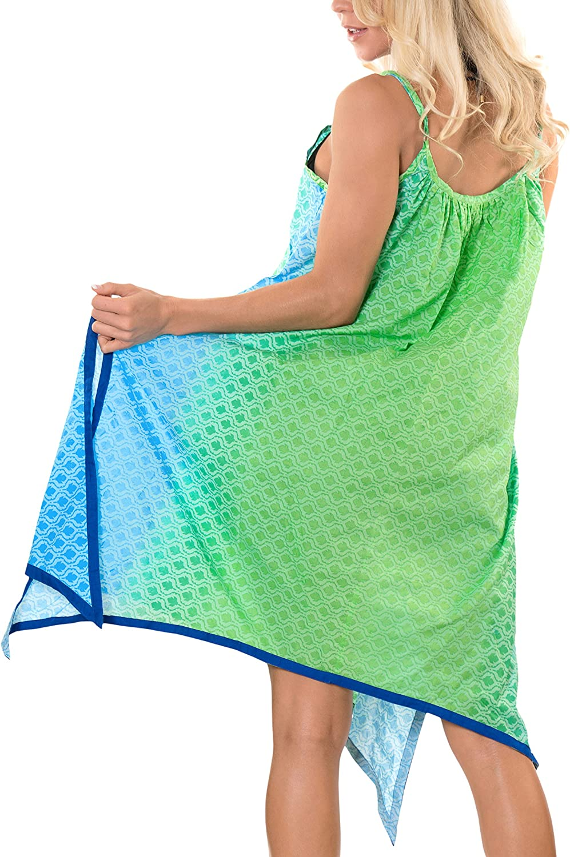 LA LEELA Womens Swimsuit Bikini Stylish Beach Cover Up Caftan Short Mini B