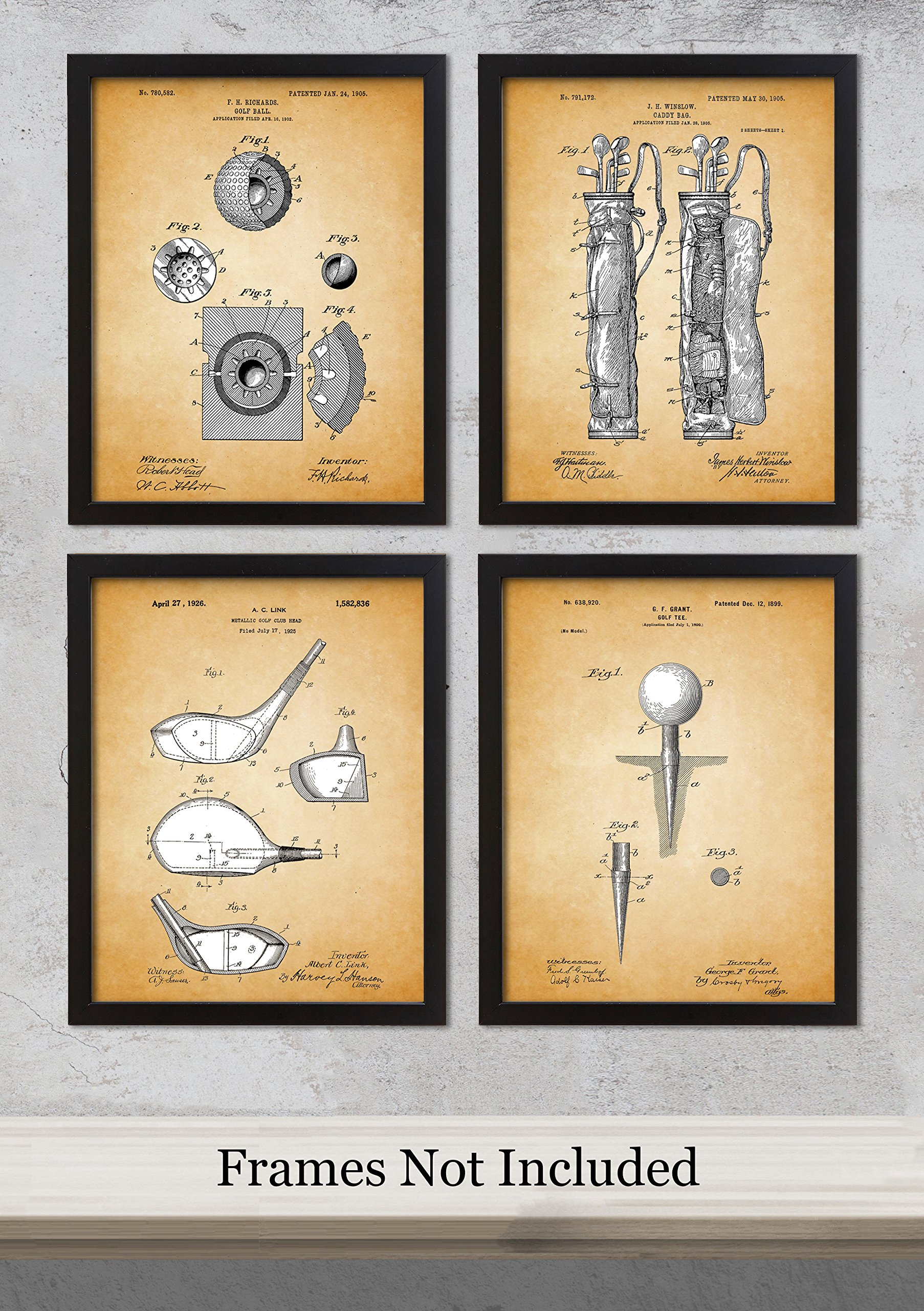 Qi Tribe Home - Vintage Golf Patent Unframed Art Prints: Set of Four Photos (8x10) – Great Gift Idea for the Golf Fans! by Qi Laces