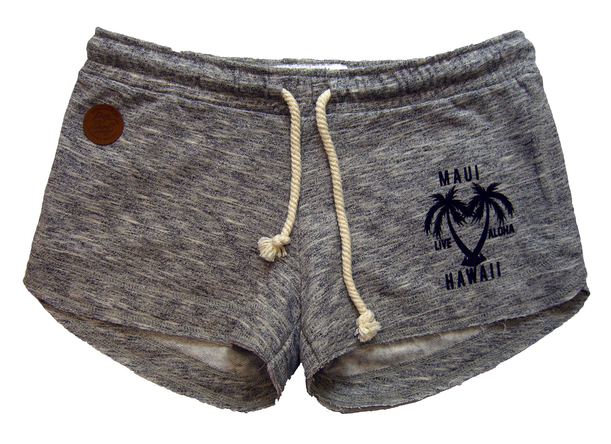 Maui Clothing Hawaii Palm Heart Melange Elastic Drawstring Shorts (Medium)