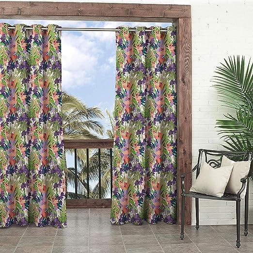 Linhomedecor - Cortina Impermeable para Exteriores, diseño de Cactus, pérgola y Ojales: Amazon.es: Jardín