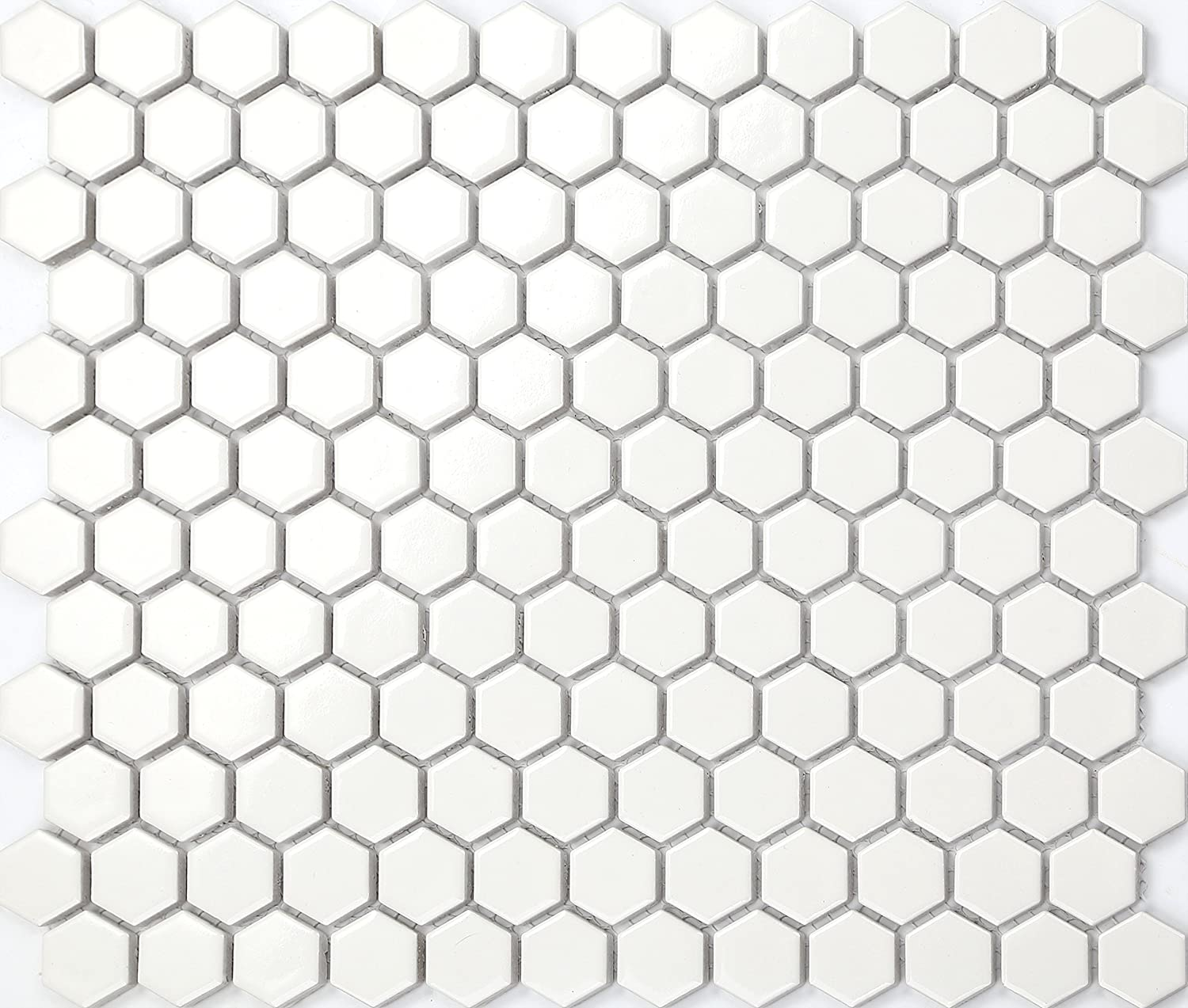 1 qm Carrelage mosaï que en cé ramique. Blanc Forme d'hexagone. Les feuilles entiè res de carreaux mesurent 26cm x 30cm (MT0089 m2) Finition polie, surface brillante GTDE