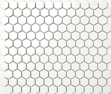 Hexagon Struktur Keramik Mosaik Fliesen Matte In Weiss Mt0089