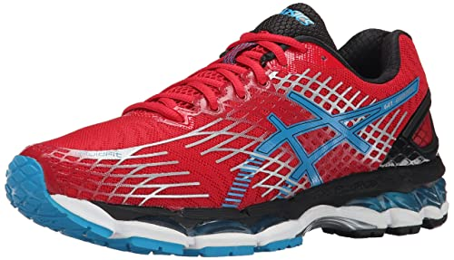ASICS Men's Gel-Nimbus 17 Running Shoe, Fiery Red/Turquoise/Black, 6 M US