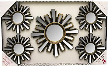 5 piece decorative black and gold mirror set wall accent display