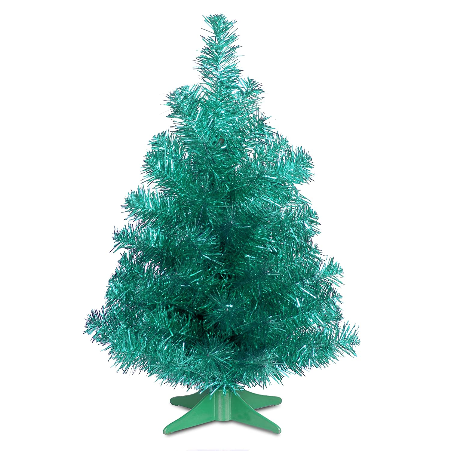Amazon.com: National Tree 2 Foot Black Tinsel Tree with Plastic ...