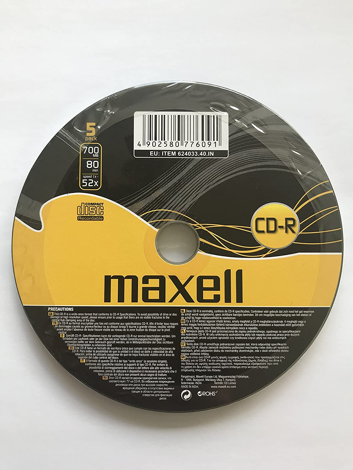 Maxell CD-R 80 Minutes 700MB 52x Speed Recordable Blank Disc - 5 Pack Shrink Wrap