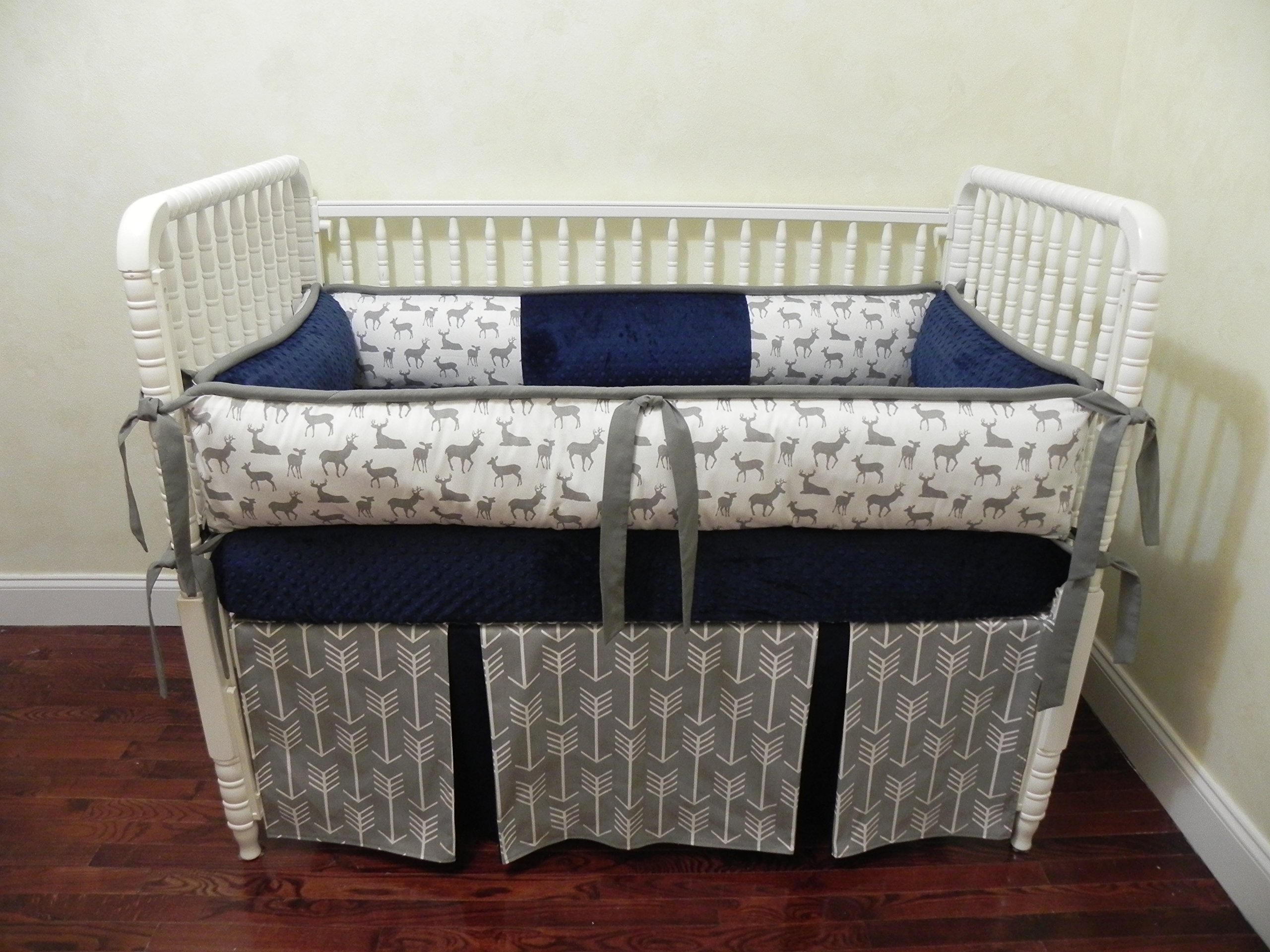 Nursery Bedding, Baby Crib Bedding Set Kees Navy, Gray and Navy Baby Bedding, Deer Crib Bedding, Gray Arrows Baby Bedding - Choose Your Pieces