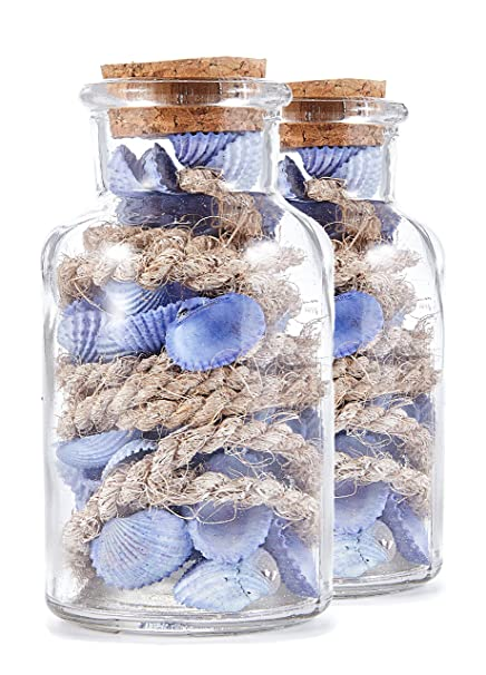 Set de Botellas de Vidrio con Conchas, Azul, 11 x
