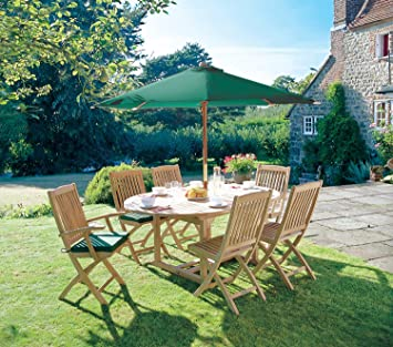 Cotswold 6 Seater Garden Table and Chairs Set with Green Cushions  FSC  Parasol and Base. Cotswold 6 Seater Garden Table and Chairs Set with Green Cushions