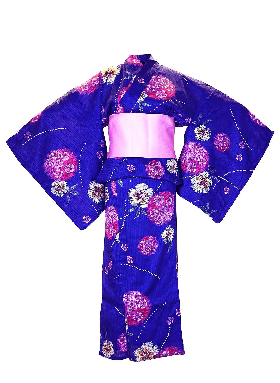 myKimono Women's Traditional Japanese Kimono Robe Yukata 504 with Pink OBI Belt / Blue with Flower Pattern y504