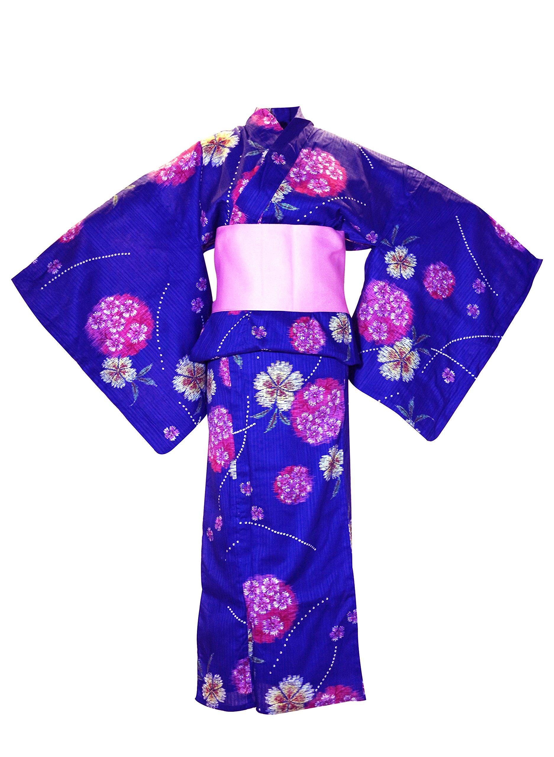 myKimono Women's Traditional Japanese Kimono Robe Yukata 504 with Pink OBI Belt / Blue with Flower Pattern
