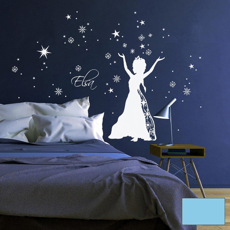 Wandtattoo Wandaufkleber Schneekönigin Prinzessin Frozen Sterne Schneeflocken M1647 - ausgewählte Farbe  Weiß - ausgewählte Größe  L - 80cm breit x 100cm hoch B015ZQDK7I Wandtattoos & Wandbilder