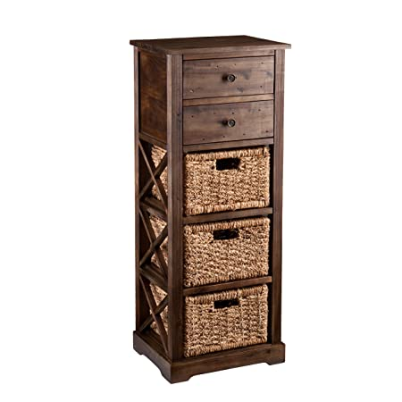 Southern Enterprises AMZ3586ZH Jayton 3-Basket Storage Tower, Brown