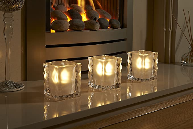 Auraglow set of 4 luxury frosted polished glass led tea light candle holders harpenden