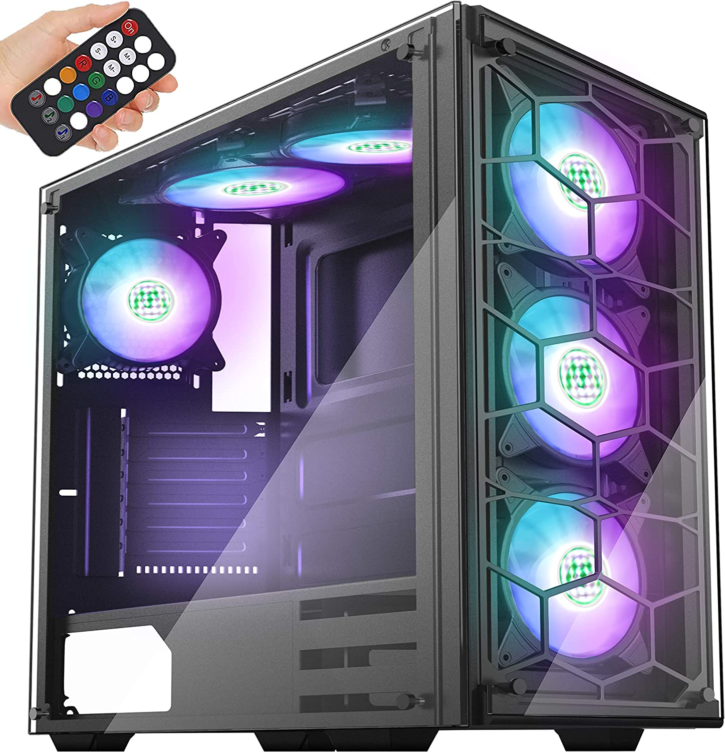 gabinete gamer MUSETEX Phantom Black ATX Mid Tower negro