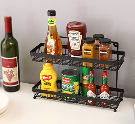Delightful 2 Tier Wire Frame Wall Mountable Metal Kitchen Spice Rack, Countertop  Storage Shelves, Black