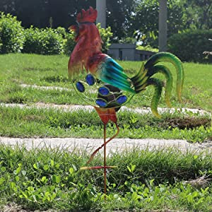 Bailym 20 Inch Rooster Solar Garden Stakes,Waterproof Decorative Solar Lawn Ornaments for Pathway Walkway Flowerbed Patio Yard Lawn Garden Decor