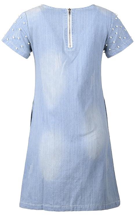 4e7ceac3952a5 QZUnique Women's Plus-Size Slim Fit Fashion Casual Denim Dress Embellished  with Pearls