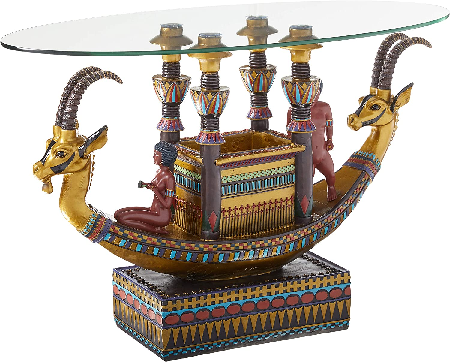 Design Toscano Egyptian Barge to the Beyond Glass Topped Sculptural Table