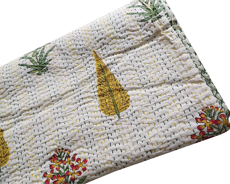 INCHES GUDARI Bedspread RALLI Cotton Handmade thehandicraftworld Floral Hand Block Print Kantha Kantha Floral Printed Queen Size 90x108