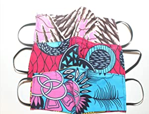 3 Pack African Print Ankara Face Covering,Washable, Reusable, Reversible FPS