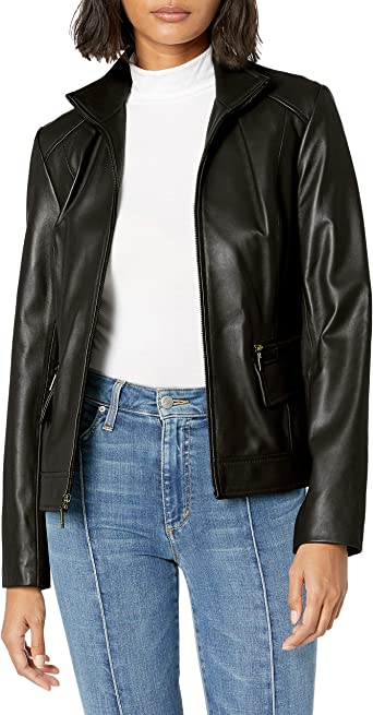 Cole Haan Womens Wing Collar Lether Jacket