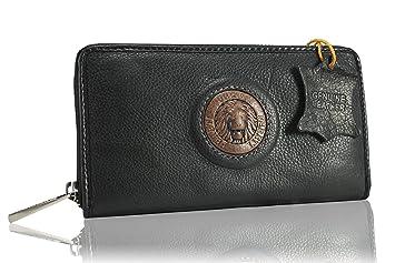 FERETI Cartera Negro Marrón de cuero bicolor Monedero billetera Tarjetas León 3D: Amazon.es: Equipaje