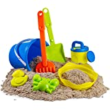 7 pc Kids Beach Toys Set, Beach Toy Sand Set for Kids, Sand Play Set with Bucket, Shovels, Rakes, Models and Molds. Sandbox T