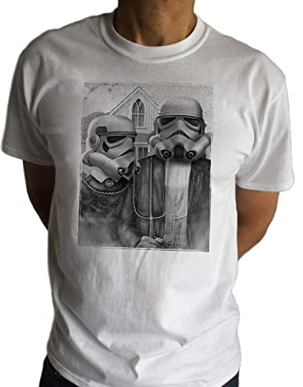 Mens T Shirt With Star Wars Stormtrooper Funny Parody American Gothic C10