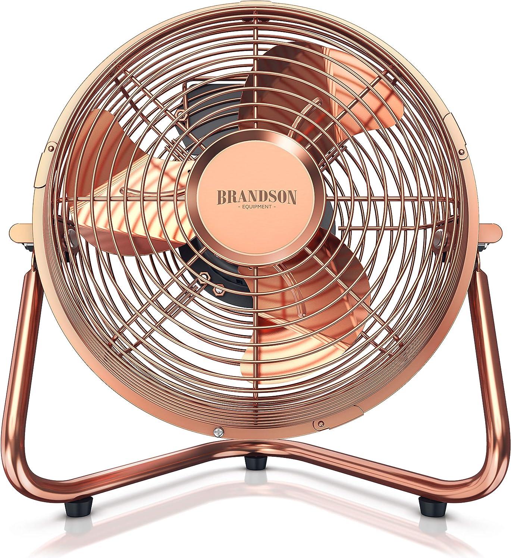 Brandson Tischventilator Standventilator stufenlos neigbarer Ventilatorkopf hoher Luftdurchsatz Standventilator 32 Watt Windmaschine Retro Stil Ventilator im Kupfer Design