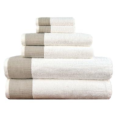 LUNASIDUS Venice Luxury Hotel & Spa Premium 6 pcs Bath Towel Set 100% Turkish Cotton, White Beige Stripe