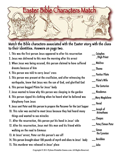 photograph relating to Printable Bible Characters called : Bible People Printable Easter Trivia Match