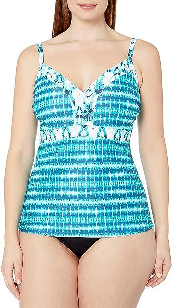 1X Coastal Blue Womens Plus Size High Neck Halter Shirred Front Tankini Top