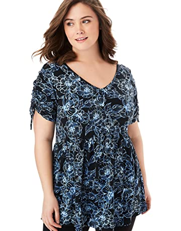 642d99b166 Woman Within Women s Plus Size V-Neck Tie-Sleeve Tunic