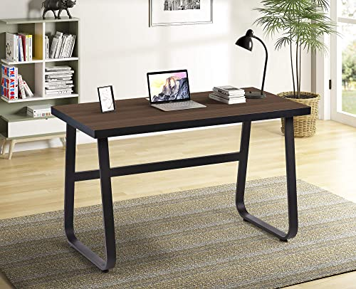 Computer Desk 47 inch Home Office Desk Computer Table Wood and Metal Writing Desk Workstation Desk with Wire Slot Wood_Espresso