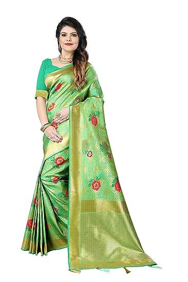 1746e511174bd Silky Sarees Women s Banarasi Silk Saree with Heavy Blouse Piece (1527 A