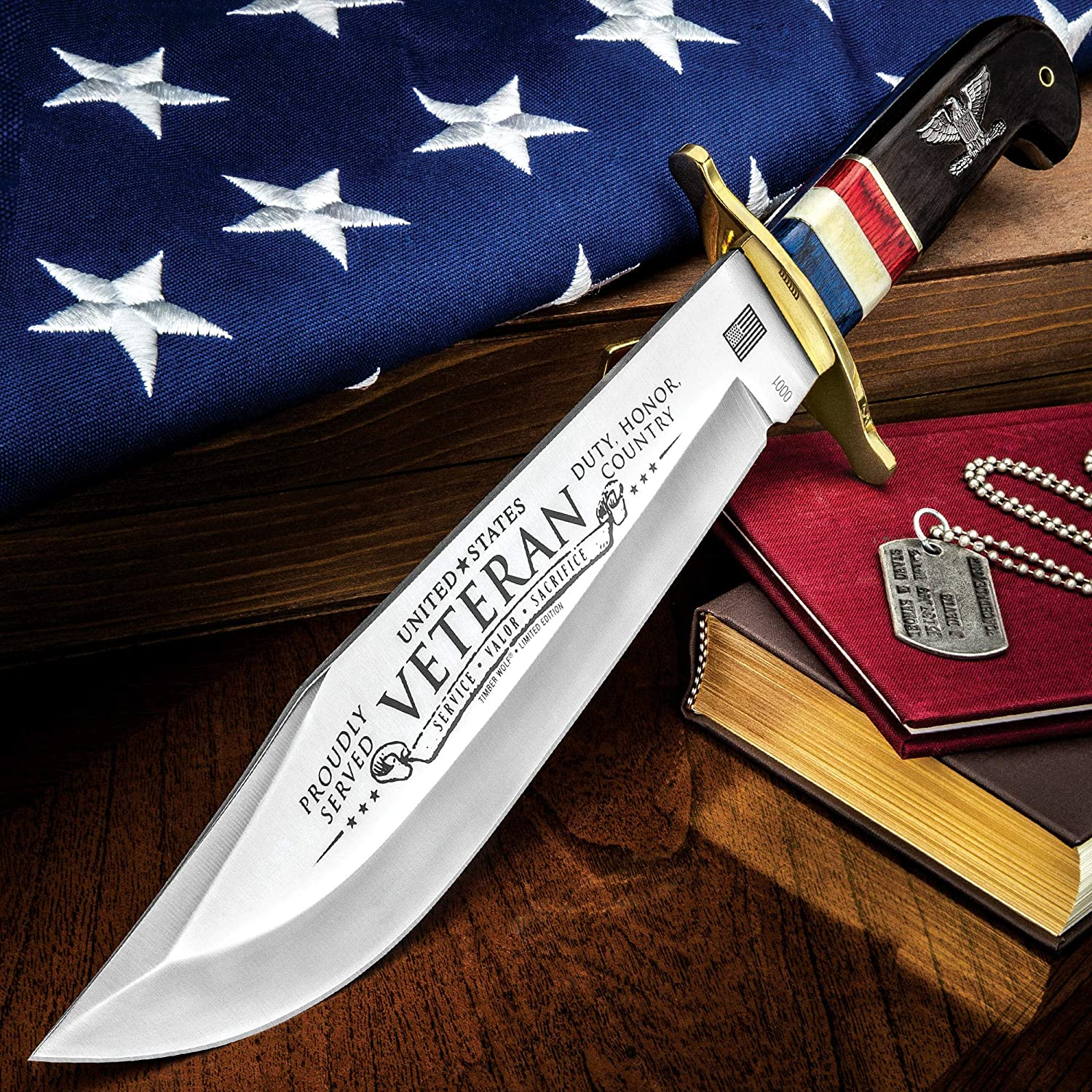 TIMBER WOLF 2018 American Veteran Bowie Knife – Stainless Steel Blade, Bone and Wooden Handle, Brass Guard and Pins – Length 16