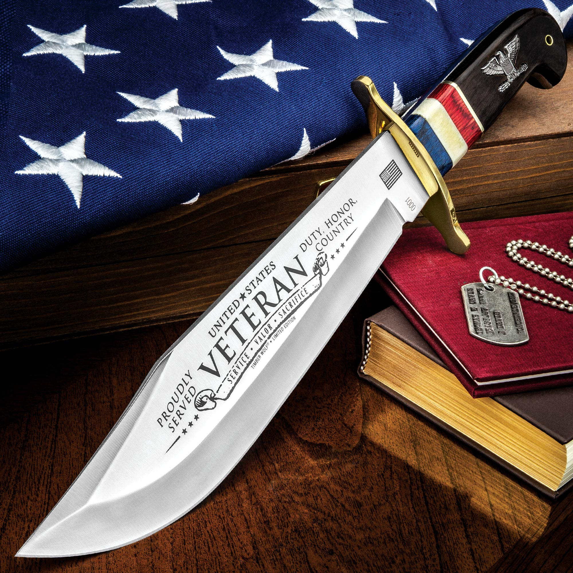 Timber Wolf 2018 American Veteran Bowie Knife - Stainless Steel Blade, Bone and Wooden Handle, Brass Guard and Pins - Length 16''