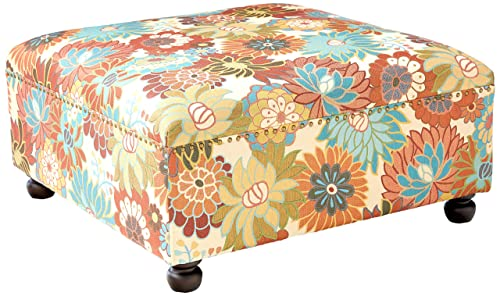 Madison Park Carlyle Coffee Table – Solid Wood Square Large Accent Cocktail Ottoman Modern Style Vibrant Floral Spring Design, Padded Footstool, Extra Seating Corner Chair, Multi Floral