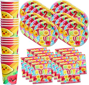 Two-tti Fruity 2nd Birthday Party Supplies Set Plates Napkins Cups Tableware Kit for 16