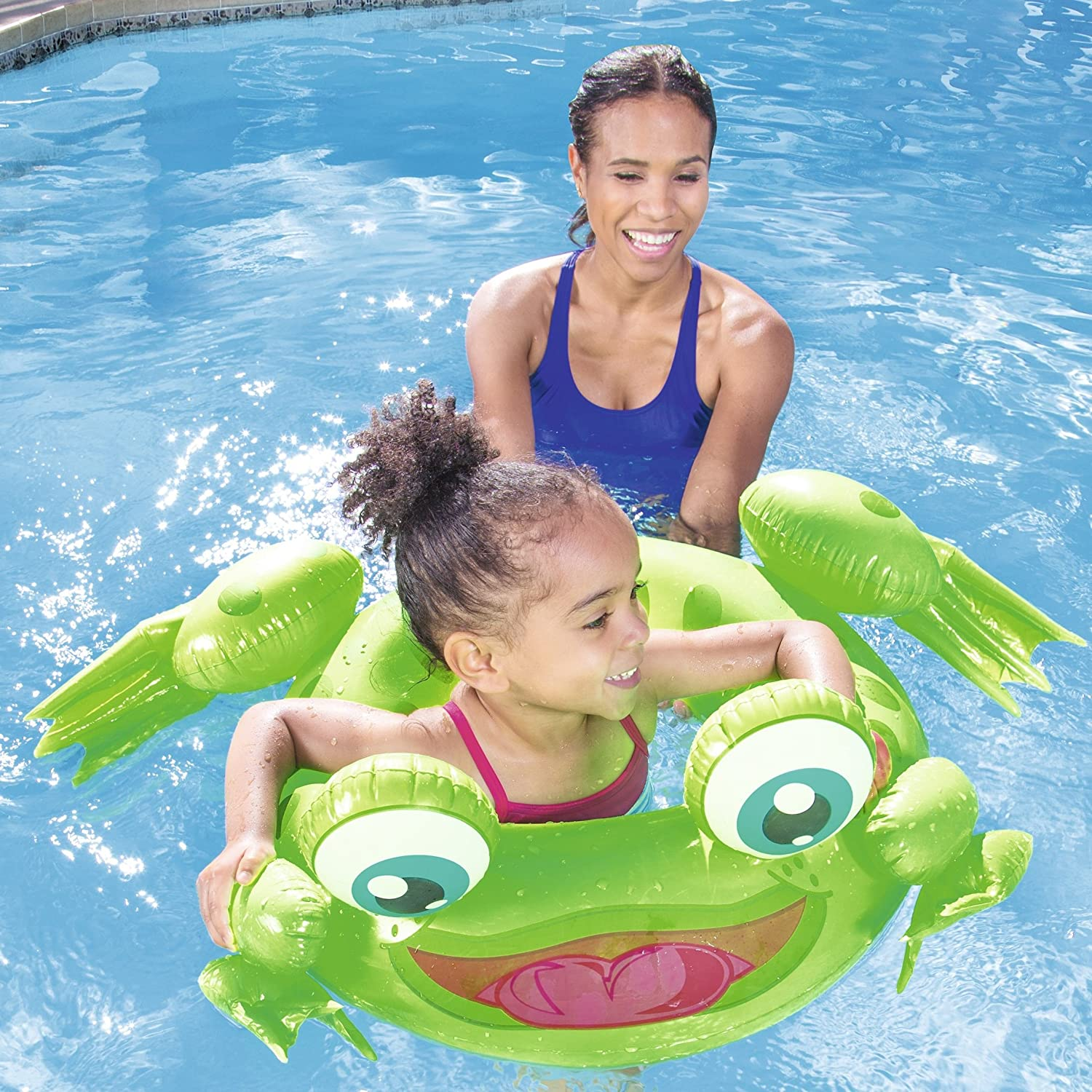 """31/"""" RAFT TAN POOL BEST WAY H2O GO Swim Ring Frosted Neon BLUE Float ages 10"""