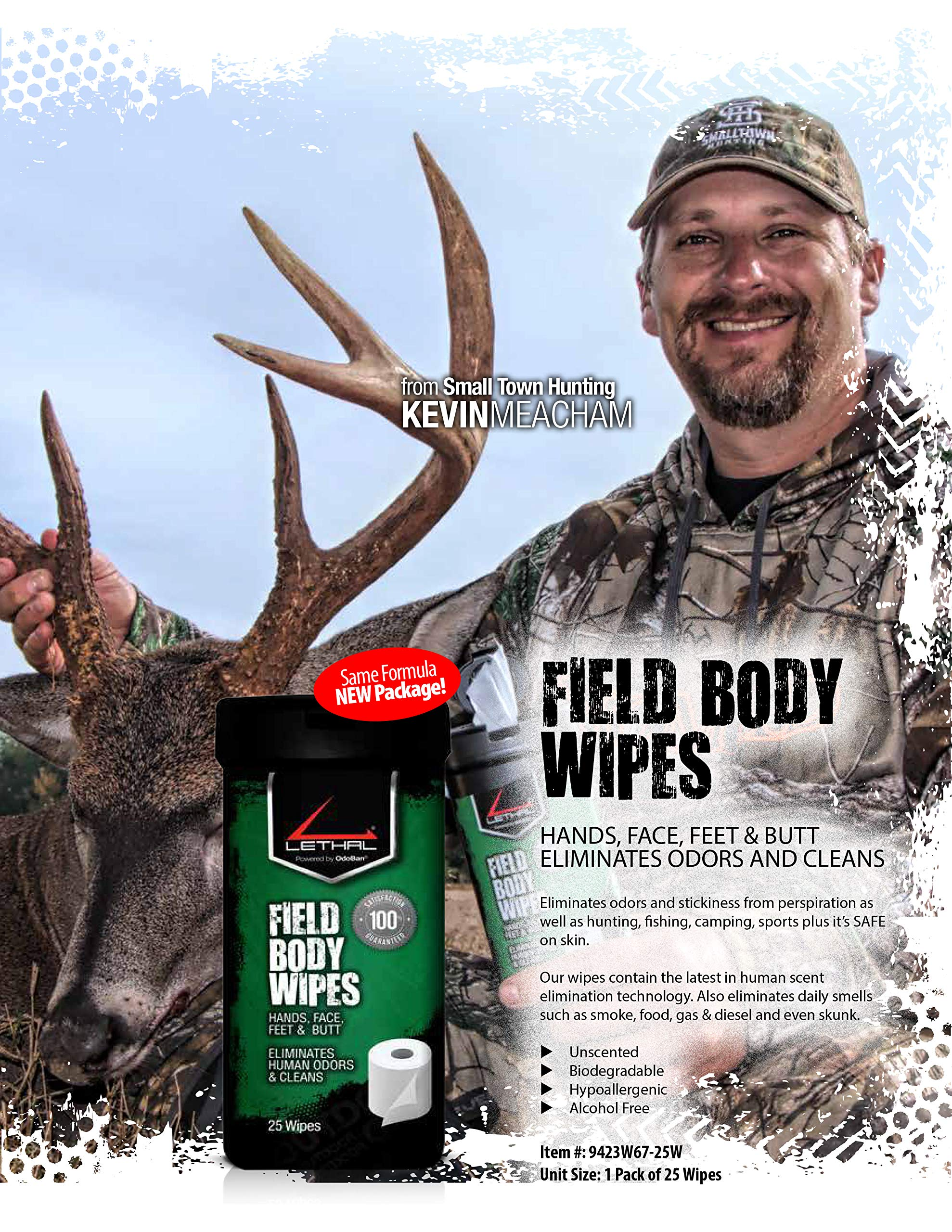 LETHAL Hunting Scent Eliminator Field Pack, Clothing and Gear Spray, Dirt Cover Spray and Body Wipes