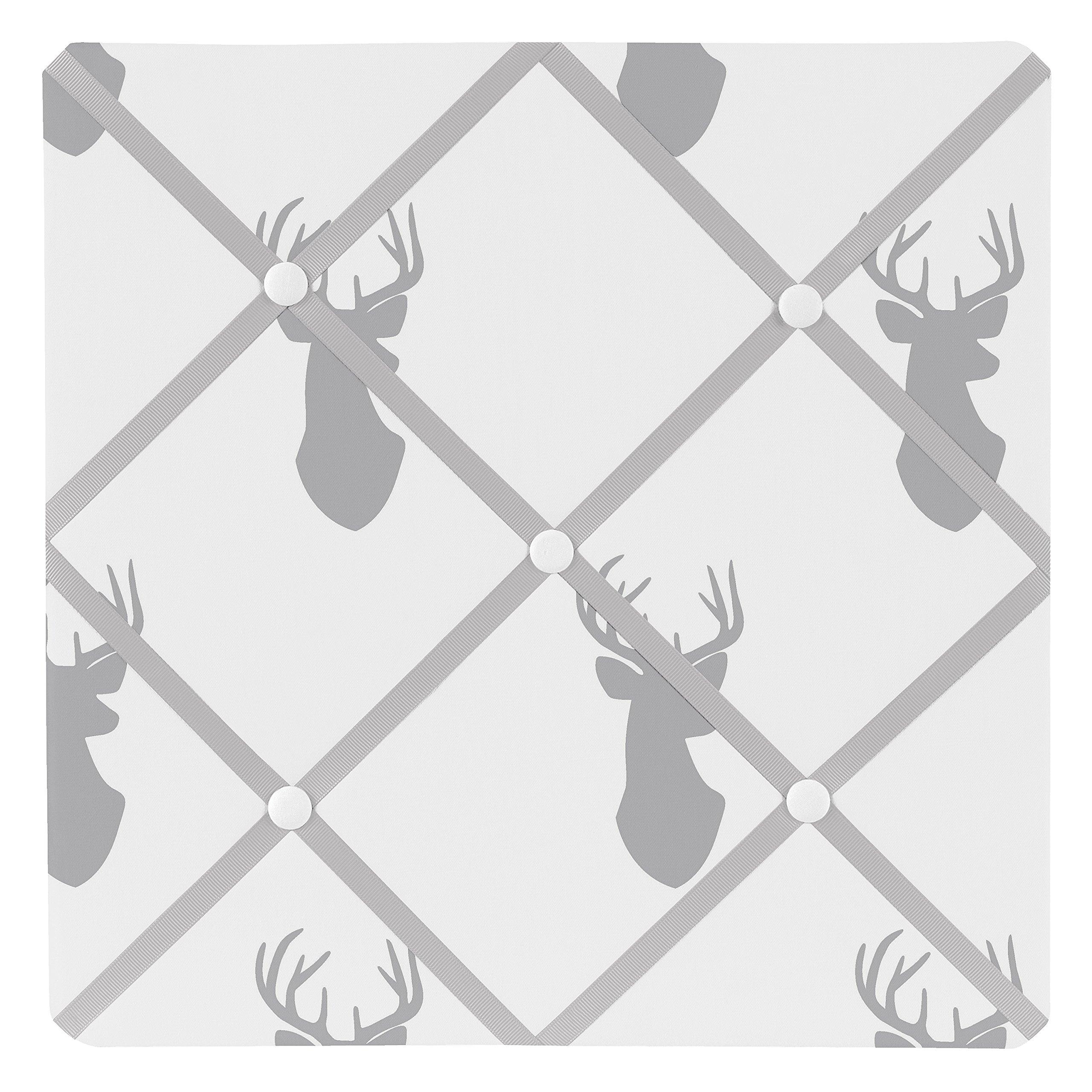 Sweet JoJo Designs Grey and White Woodland Deer Fabric Memory/Memo Photo Bulletin Board