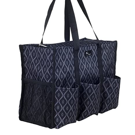 Pursetti Zip-Top Organizing Utility Tote Bag with Multiple Exterior    Interior Pockets for Working 647dfb1f0b587