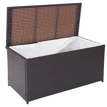 Mendler Poly Rattan Kissenbox Barry Truhe Auflagenbox Gartenbox 290l Braun