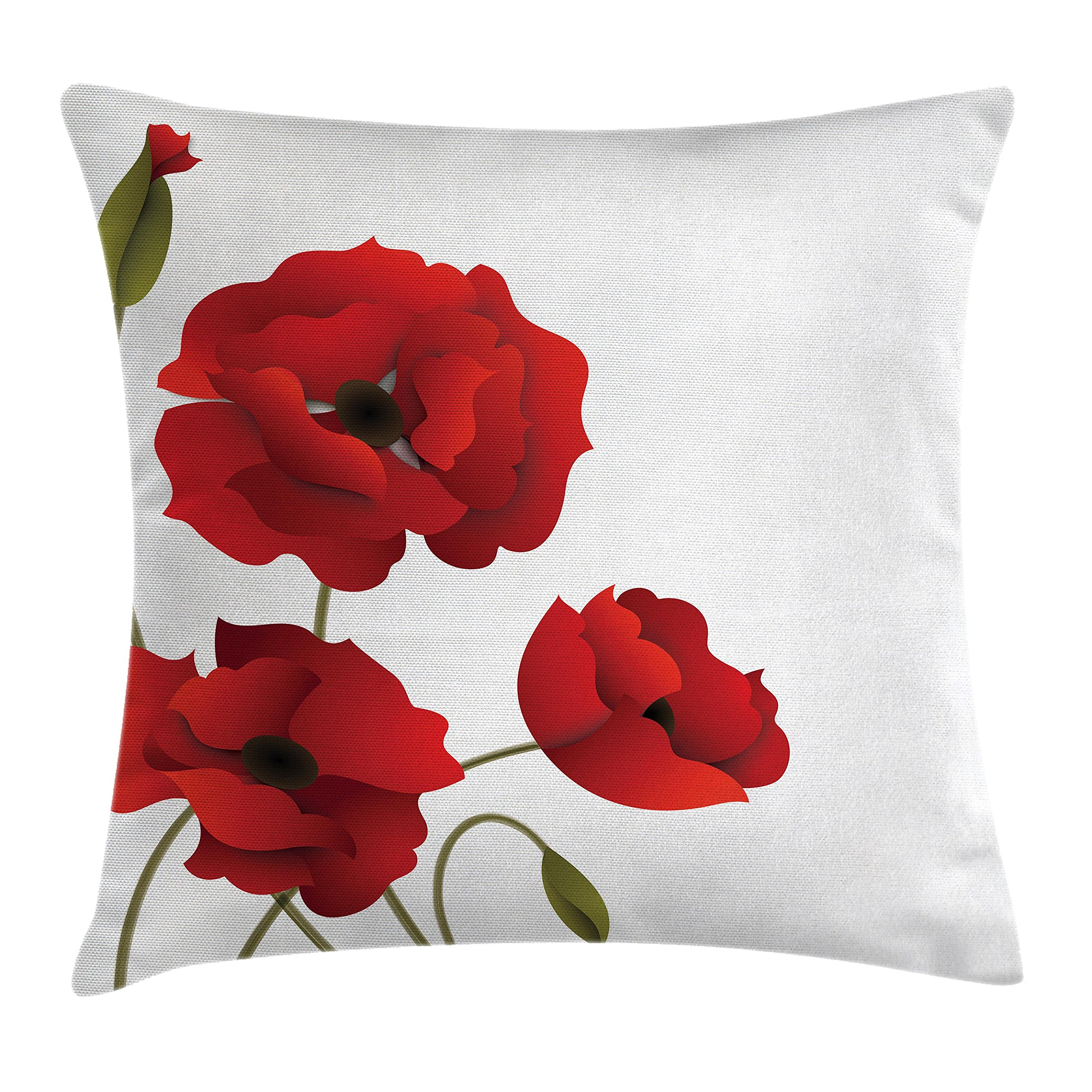 Ambesonne Floral Throw Pillow Cushion Cover, Poppy Flowers Vivid Petals with Buds Pastoral Purity Mother Earth Nature Design, Decorative Square Accent Pillow Case, 16'' X 16'', Red Green