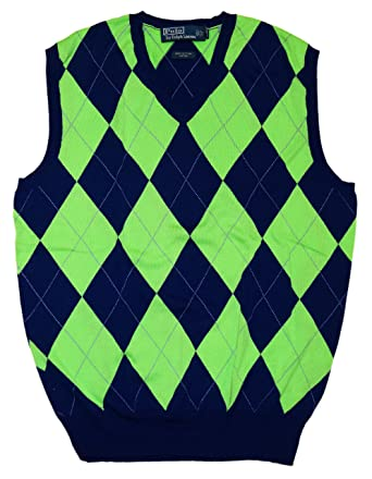 Lauren V Green Neck Navy Argyle Blue Sweater Ralph Mens Vest Polo shQdtCr